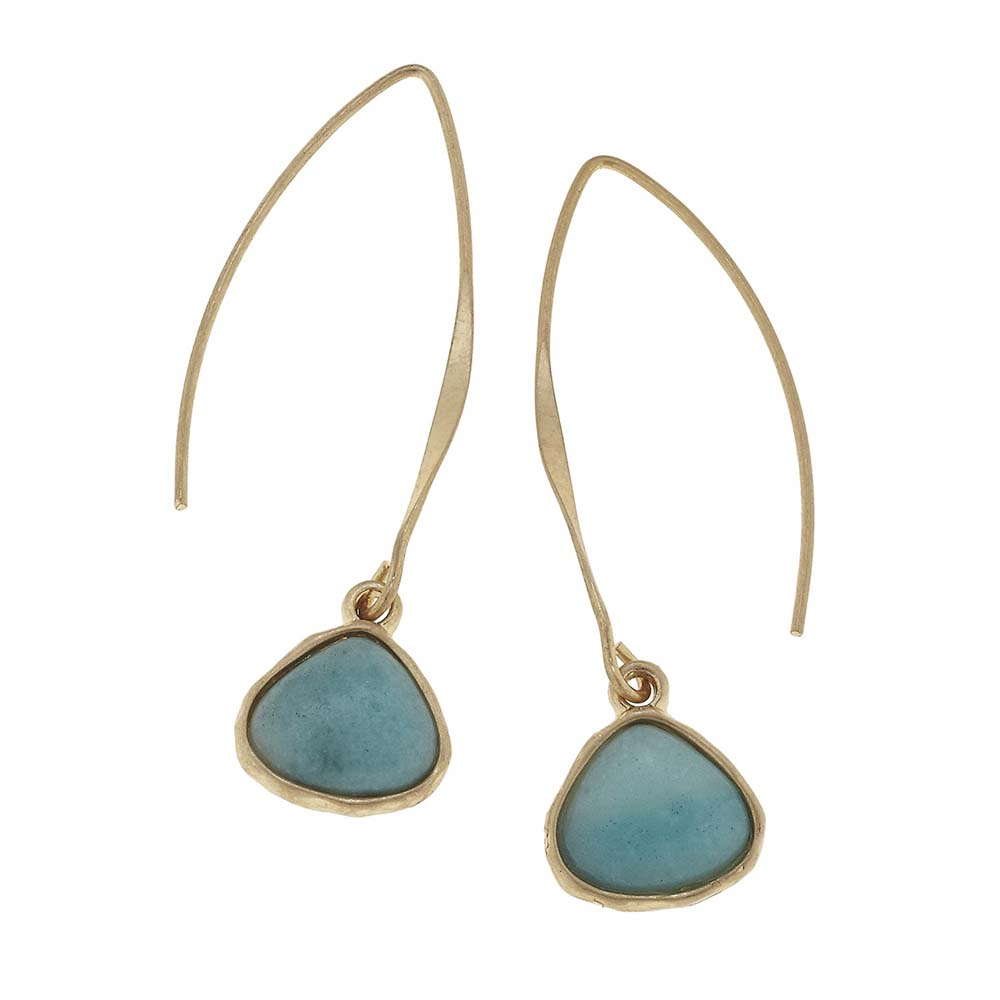 Canvas Amazonite Gemstone Teardrop Marquise Wire Earrings
