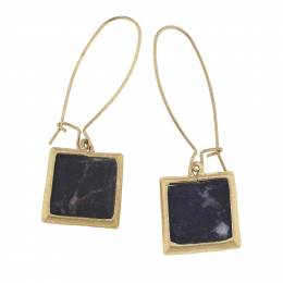 Canvas Sodalite Square Gemstone Earrings