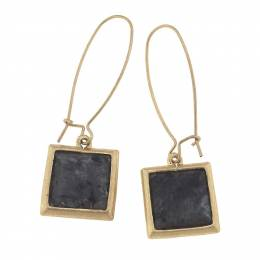 Canvas Granite Square Gemstone Earrings