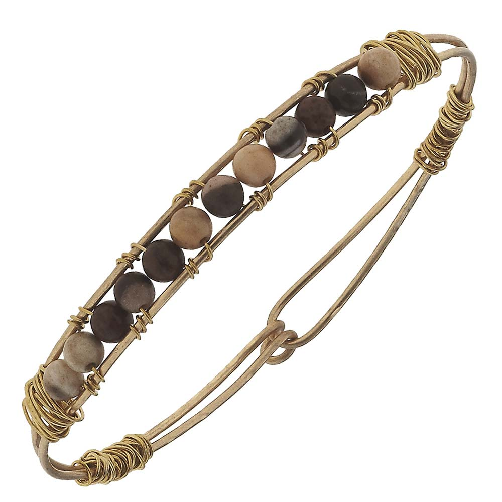 Canvas Artisan Wired Tiger Jasper Gemstone Bead Bangle
