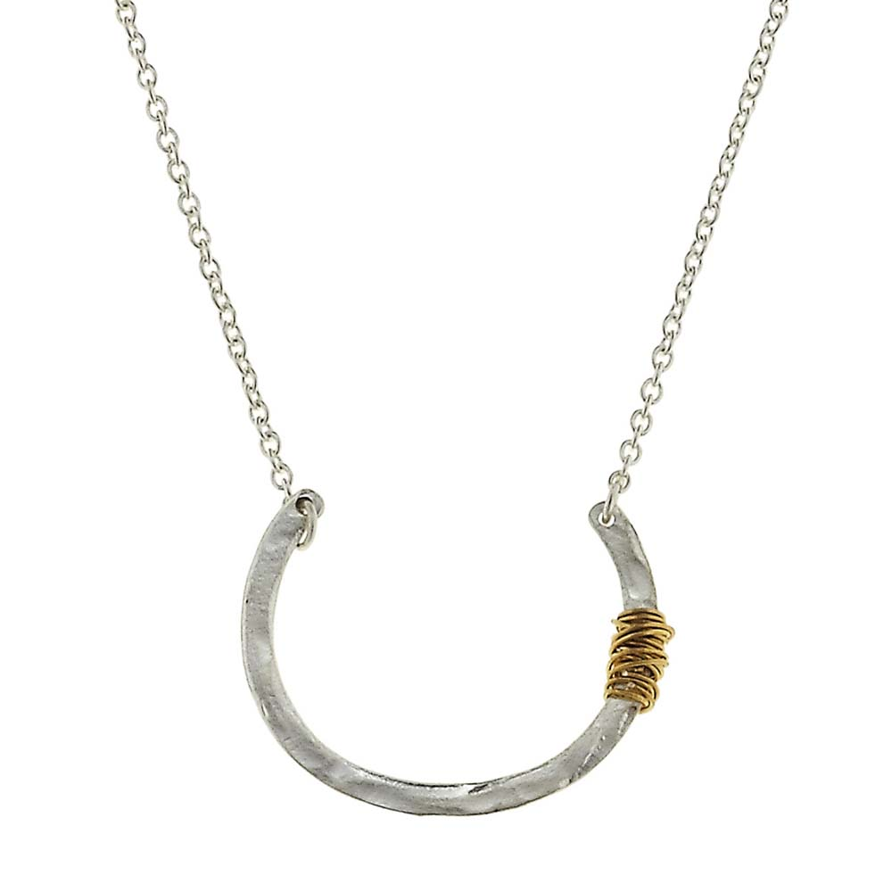 Canvas Wire-Wrapped Silver Crescent Moon Necklace