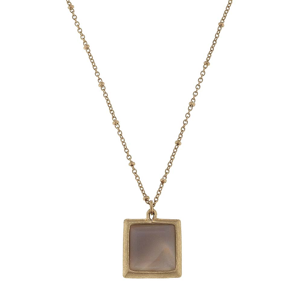 Canvas Grey Agate Square Gemstone Necklace