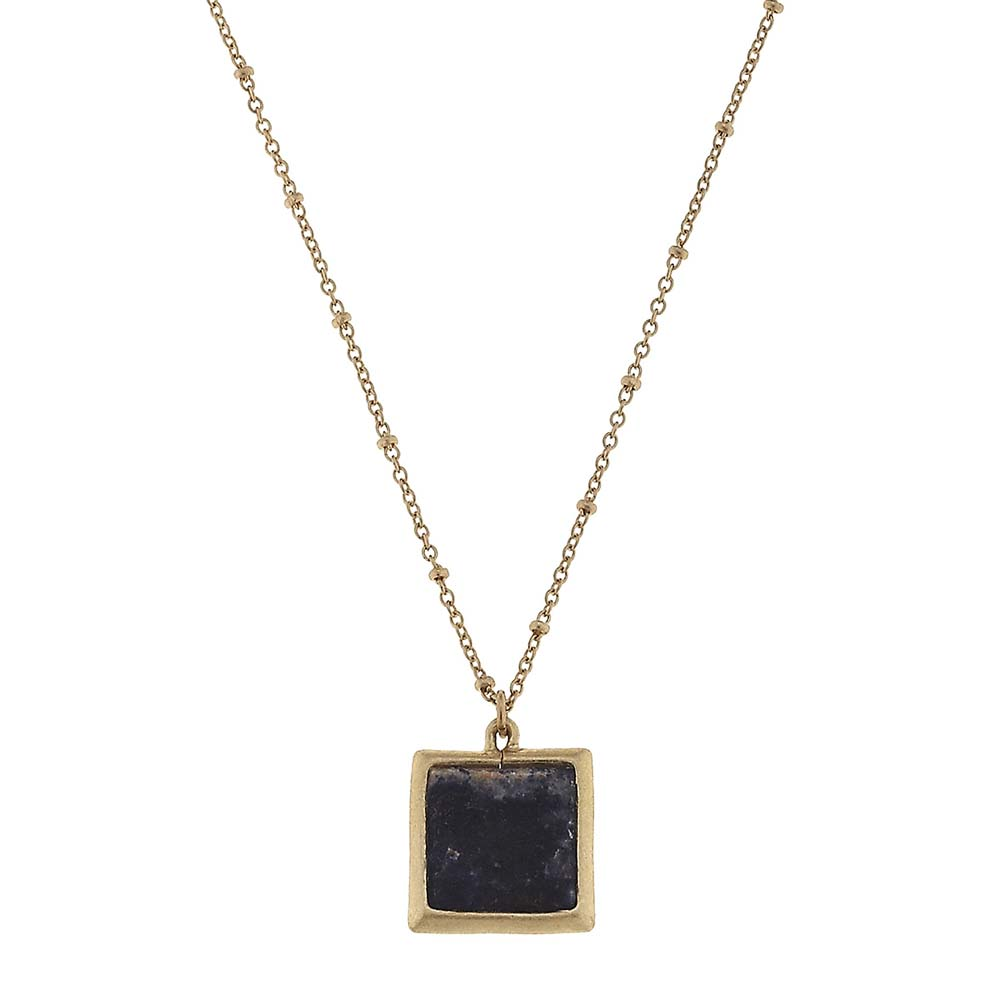 Canvas Sodalite Square Gemstone Necklace