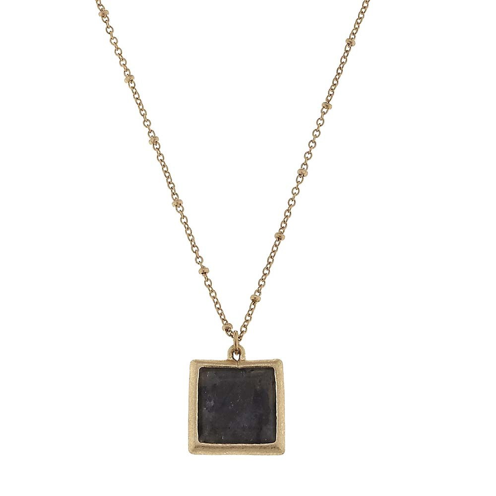 Canvas Granite Square Gemstone Necklace