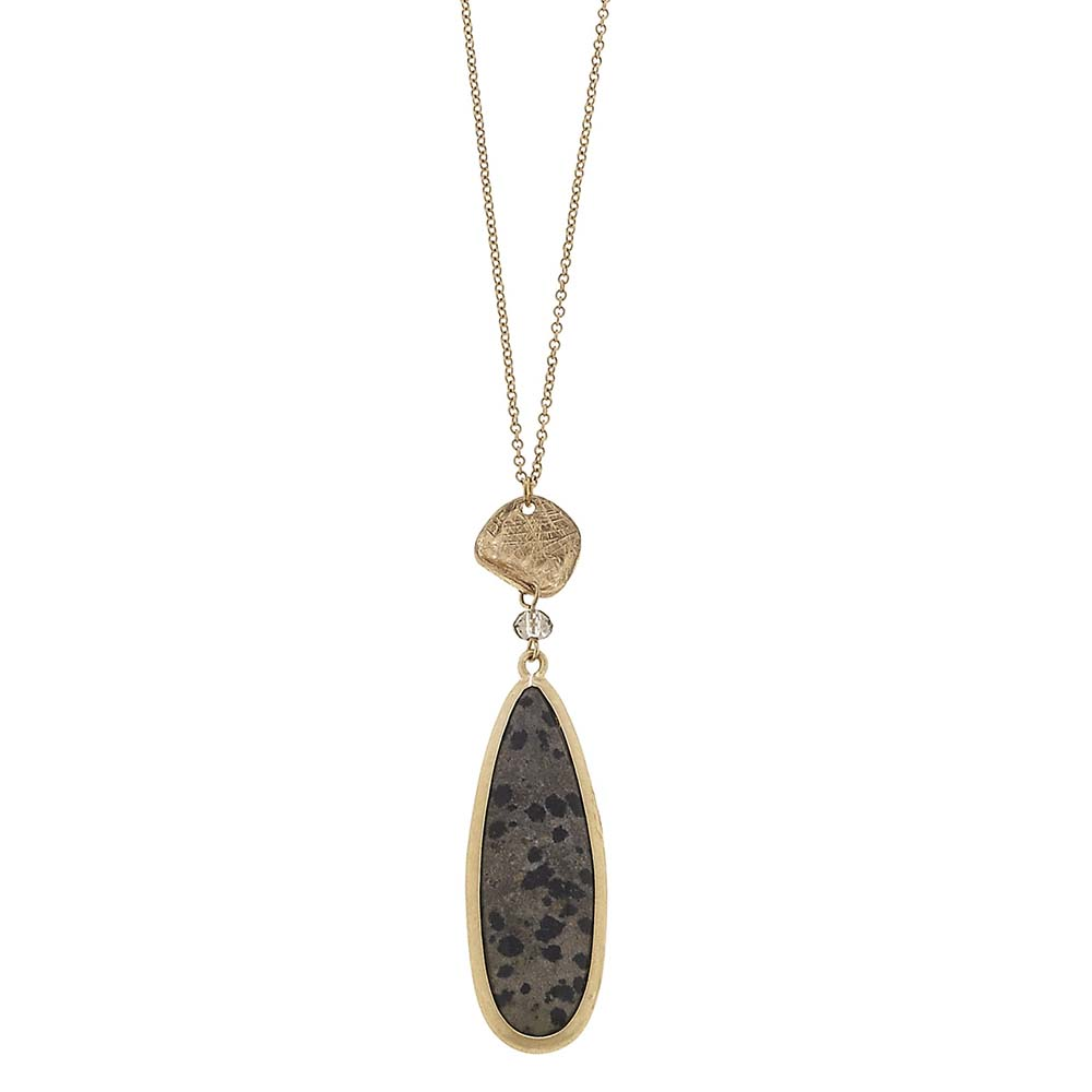 Canvas Dalmatian Jasper Teardrop Gemstone Necklace