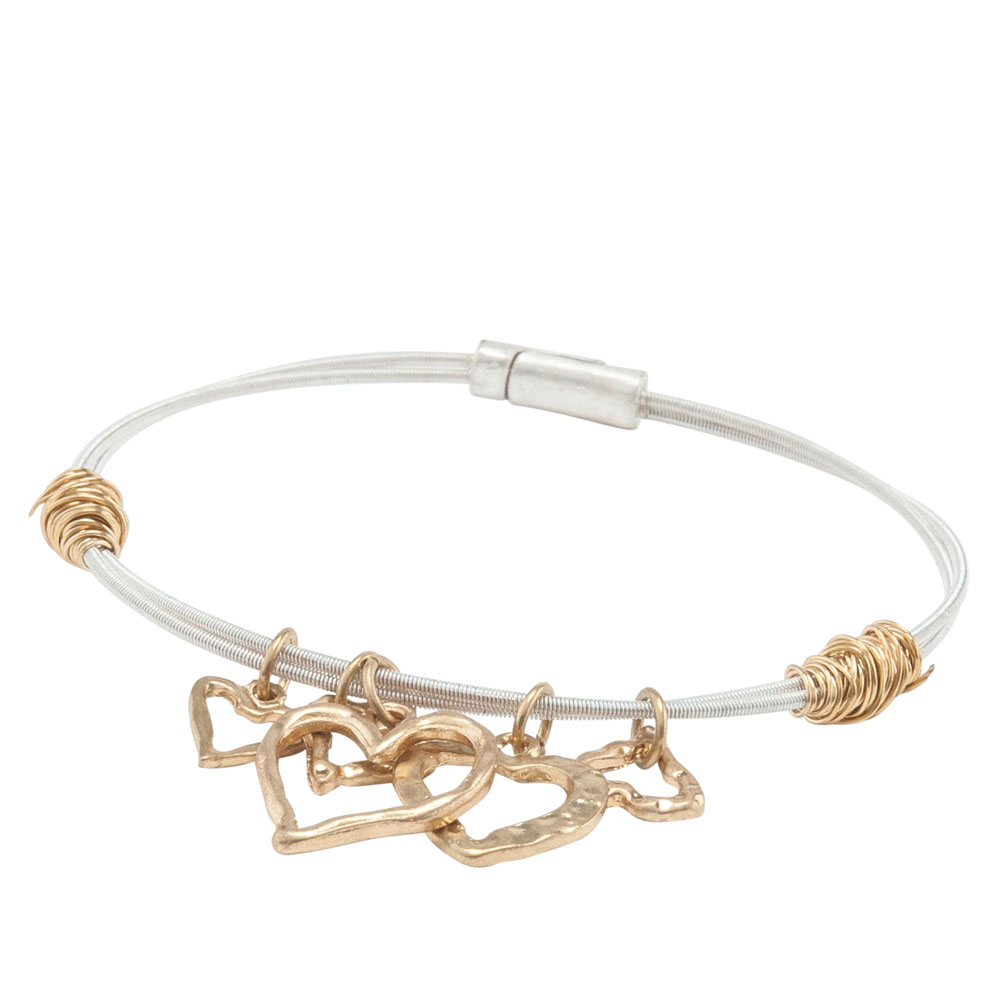 Canvas Two-Tone Wired Open Heart Charms Bangle