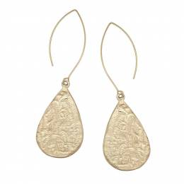 Canvas Gold Hammered Teardrop Marquise Wire Earrings