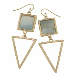Canvas Amazonite Square Gemstone and Triangle Earrings