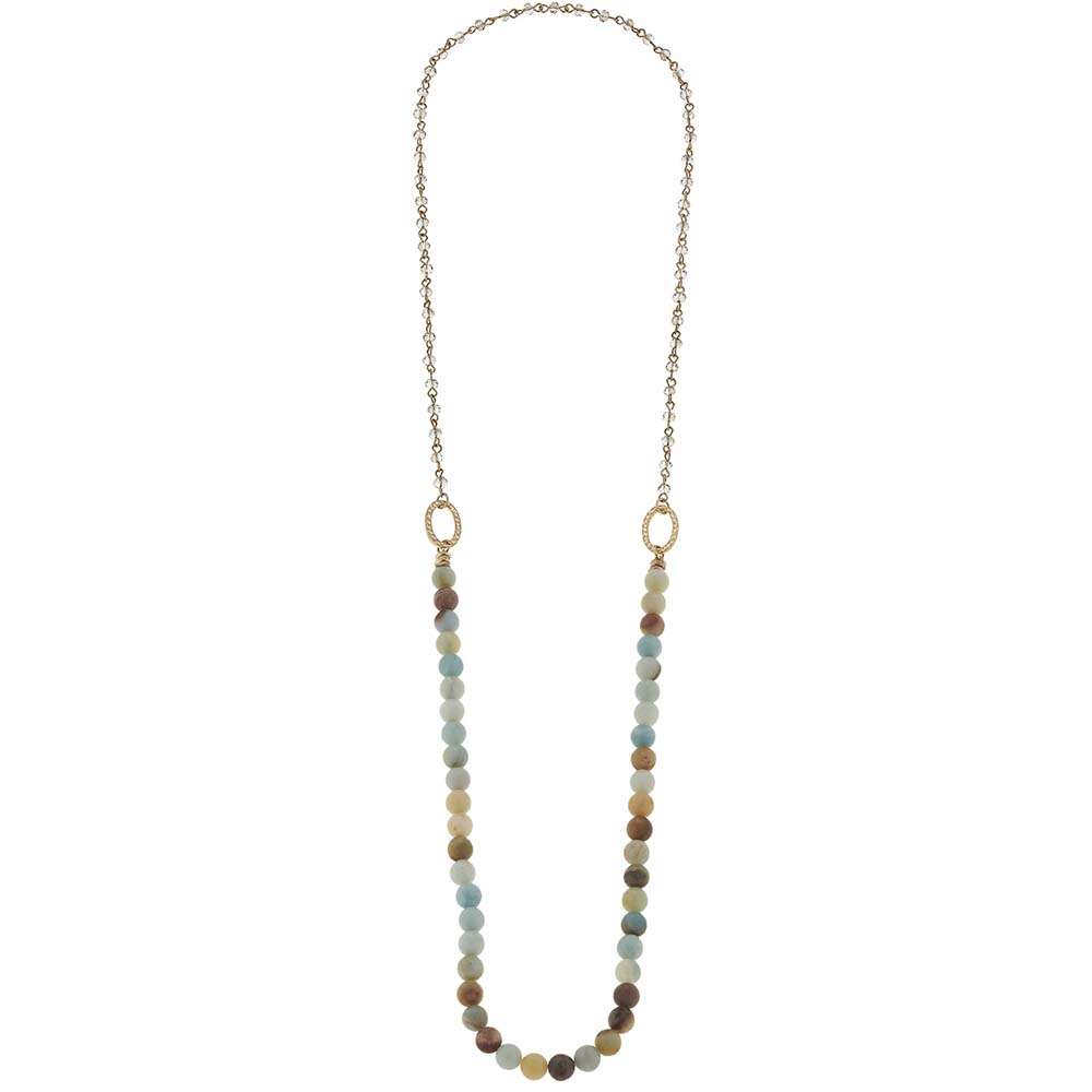 Canvas Amazonite Beaded Gemstone Layering Necklace