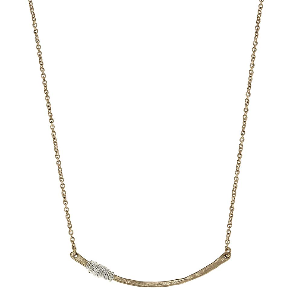 Canvas Wire-Wrapped Gold Curved Bar Necklace