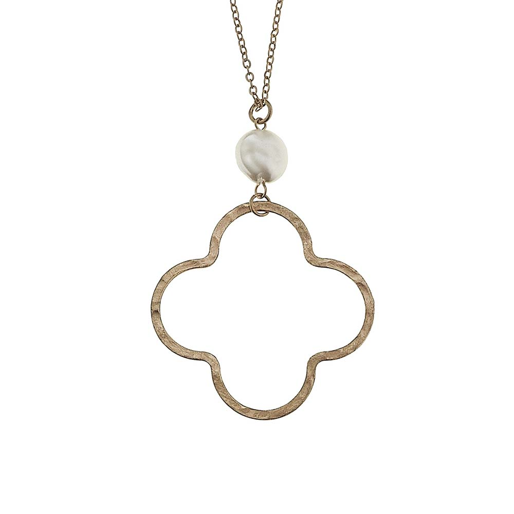 Canvas Gold Clover Pendant Necklace