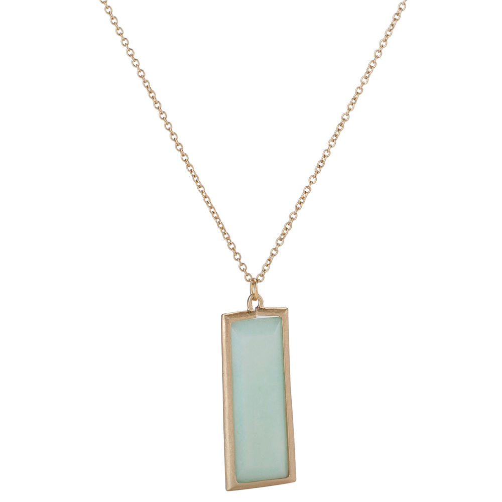 Canvas Amazonite Rectangle Gemstone Necklace