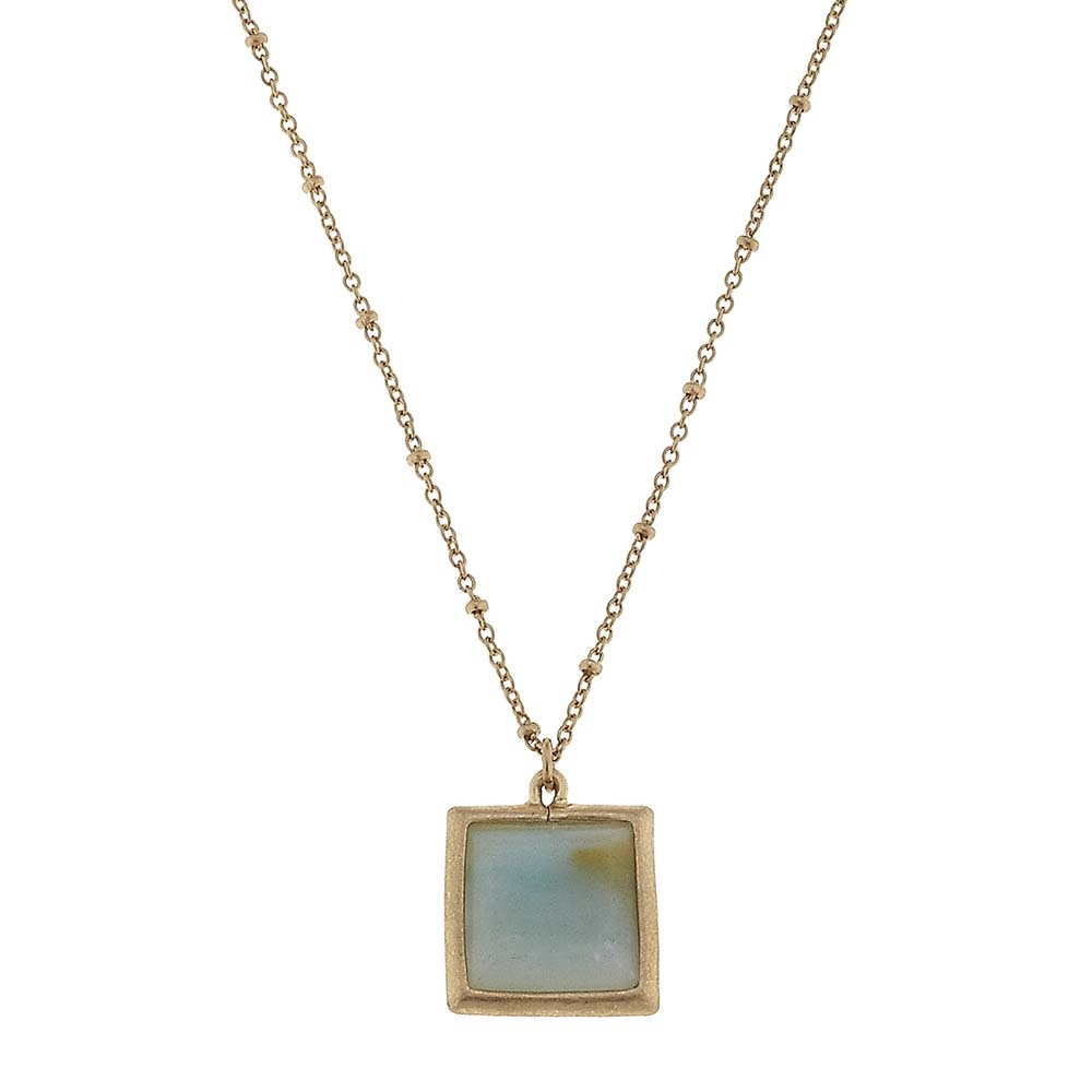 Canvas Amazonite Square Gemstone Necklace