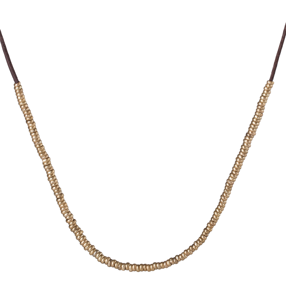 Canvas Delicate Gold Metal Beads Leather Choker Necklace