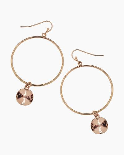 Gold Disc Drop Hoop Earrings