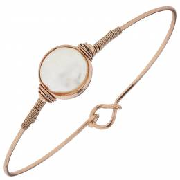 Canvas Ivory Coin Rose Gold Latch Bangle