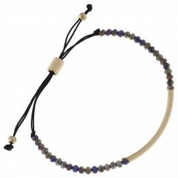 Canvas Beaded Bar Bracelet in Grey