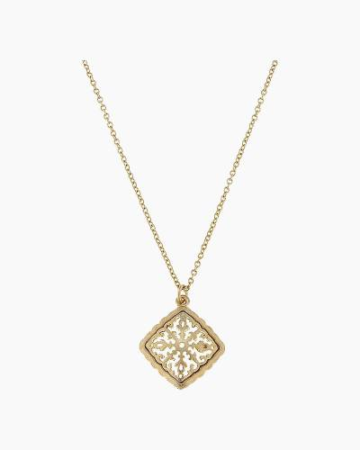 Gold Filigree Diamond-Shaped Pendant Necklace