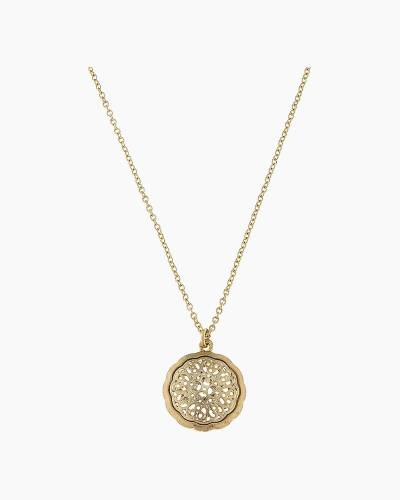 Gold Filigree Circle Pendant Necklace