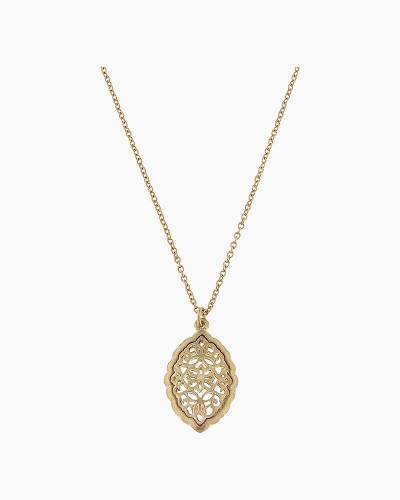 Gold Filigree Marquis Pendant Necklace