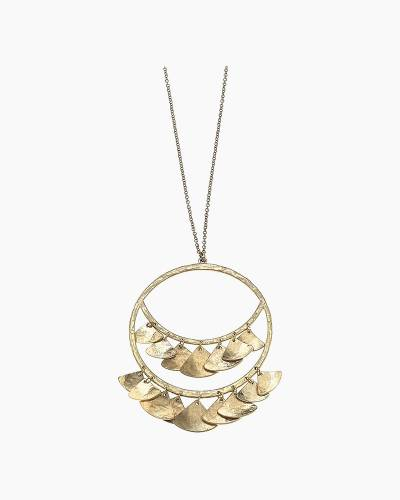 Hammered Petals Necklace in Gold