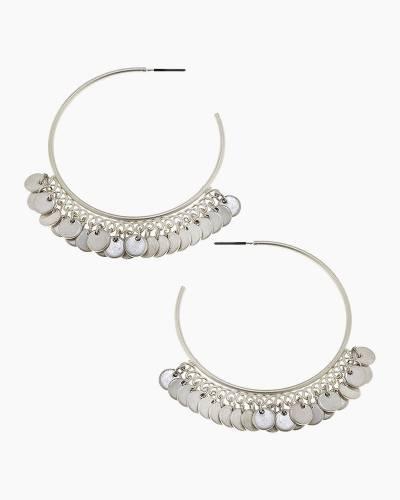 Disc Fringe Hoop Earrings in Silver
