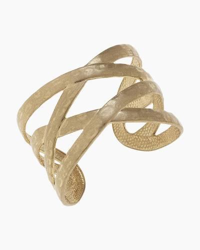 Criss-Cross Hammered Cuff Bracelet