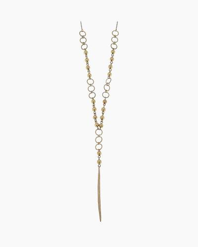 Spear Drop Y Necklace in Gold