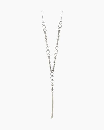 Spear Drop Y Necklace in Silver