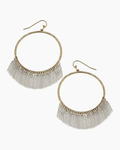 Chain Fringe Hoop Earrings in Silver