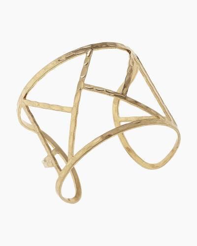 Geometric Hammered Cuff Bracelet in Gold