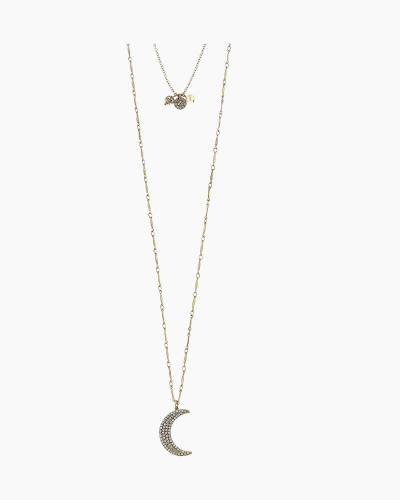 Ainsley Layered Moon Necklace in Worn Gold