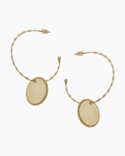 Fiona Hoop Earrings in Worn Gold