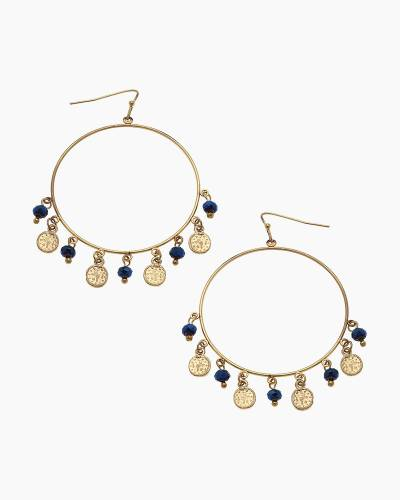 Celeste Coin Hoop Earrings in Midnight Blue