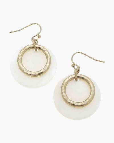 Melanie Disc Earrings in White Mother of Pearl Shell