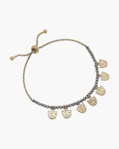 Gabrielle Beaded Bolo Bracelet in Hematite Glass