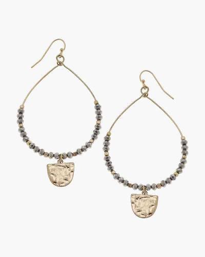 Gabrielle Beaded Earrings in Hematite Glass