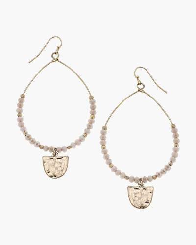 Gabrielle Beaded Earrings in Blush Glass