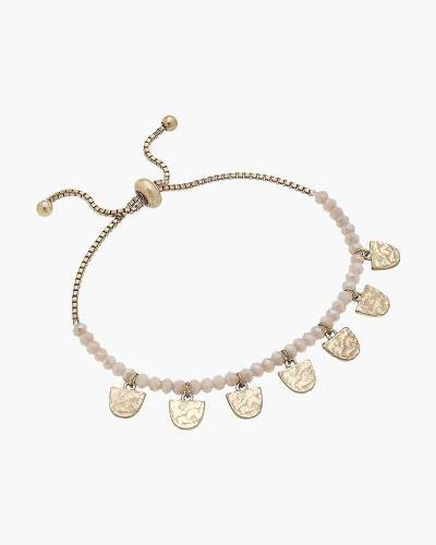 Gabrielle Beaded Bolo Bracelet in Blush Glass