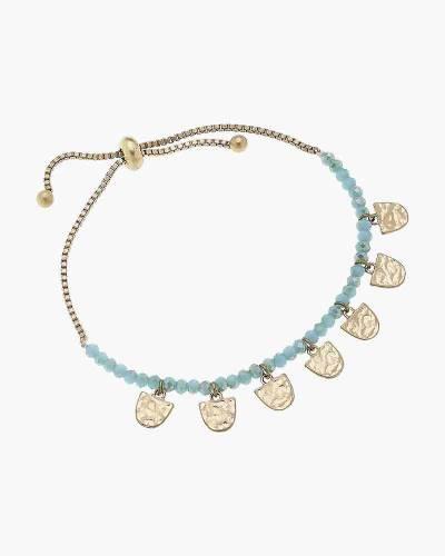 Gabrielle Beaded Bolo Bracelet in Aqua Glass