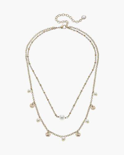 Bailey Layered Drip Necklace in Ivory Pearl