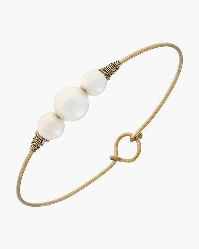 Alexis Latch Bangle in Ivory Pearl