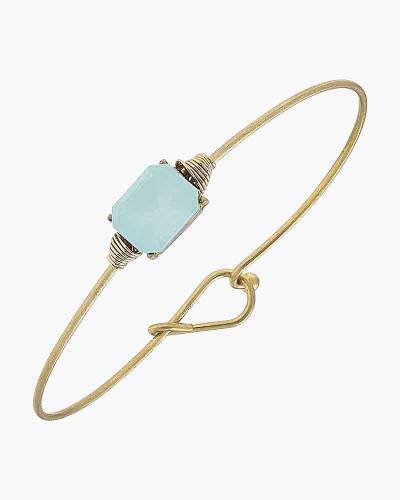 Brinkley Emerald Latch Bangle in Frosted Light Blue