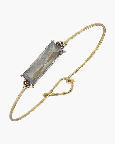 Brinkley Baguette Latch Bangle in Frosted Grey
