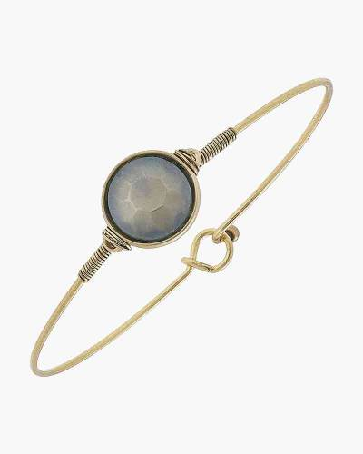 Brinkley Round Latch Bangle in Frosted Grey