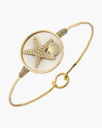 Starfish Latch Bangle in Mother of Pearl Resin