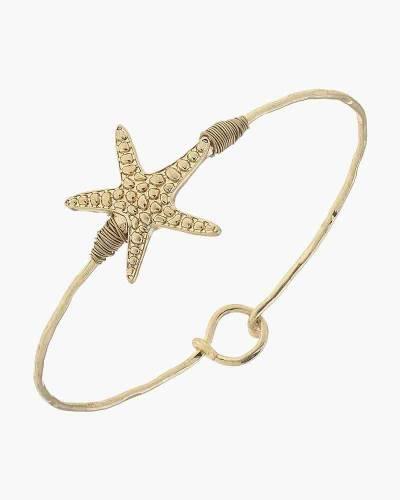 Starfish Latch Bangle in Worn Gold