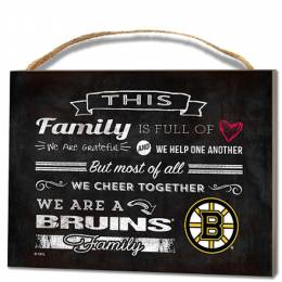 Kindred Hearts Boston Bruins Family Cheer Wooden Plaque