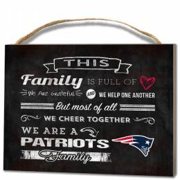Kindred Hearts New England Patriots Family Cheer Wooden Plaque