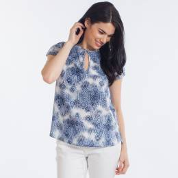 Honey Belle Tile Print Top in Navy Blue